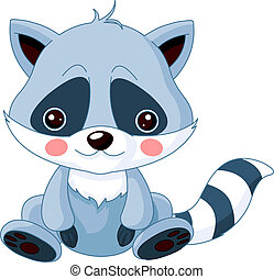 Fun zoo. Raccoon - Fun zoo. Illustration of cute Raccoon