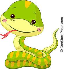 Fun zoo. Snake - Fun zoo. Illustration of cute Snake