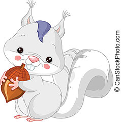 Fun zoo. White squirrel - Fun zoo. Illustration of cute...
