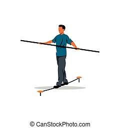 Funambulist. Vector Illustration. - Rope walker man on a...