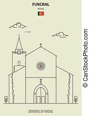 funchal, cathédrale, repère, portugal., icône