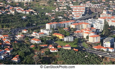 Funchal road traffic timelapse aerial view timelapse....