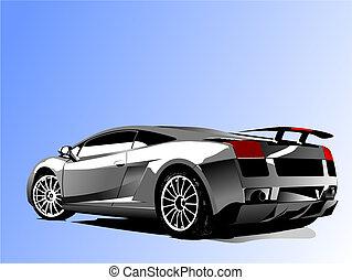 función de automóvil, con, concept-car, vector, ilustración