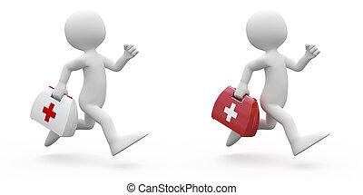 funcionamiento del hombre, con, kit de primeros auxilios