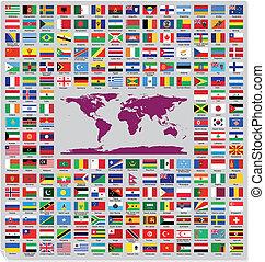 funcionario, país, banderas