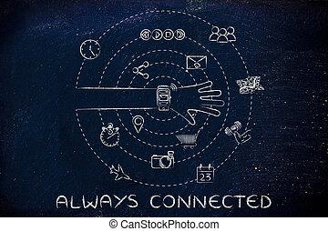 funciones, rodeado, mano, always, conectado, smartwatch
