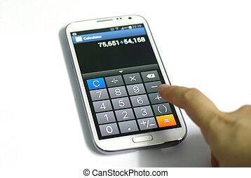 functie, beweeglijk, rekenmachine, telefoon, dringend, vinger