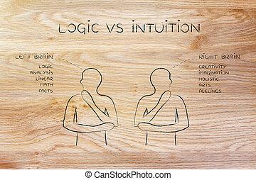 functie, intuïtie, rechts, descriptions, mannen, hersenen, vs, logica, links