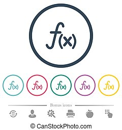 Function flat color icons in round outlines