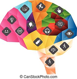 Function of central nervous system. Polygonal brain with icons vector illustration