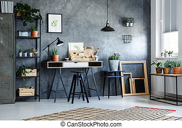 Functional office interior with plants - Functional office...