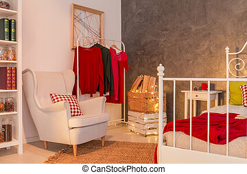 Functional room with clothes rack - Functional light room...