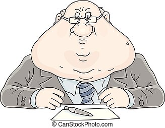 Functionary - Vector illustration of a fat and disgruntled ...