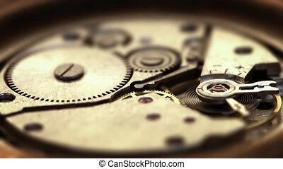 Functioning, Spring-Powered Clockwork Mechanism with Moving...