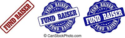 FUND RAISER scratched stamp seals in red and blue colors. Vector FUND RAISER labels with dirty surface. Graphic elements are rounded rectangles, rosettes, circles and text labels.