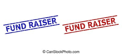 Blue and red FUND RAISER seal stamps on a white background. Flat vector scratched stamps with FUND RAISER caption inside 2 parallel lines. Watermarks with scratched style.