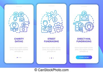 Fund-raising kinds onboarding mobile app page screen. Charity meeting walkthrough 3 steps graphic instructions with concepts. UI, UX, GUI vector template with linear color illustrations