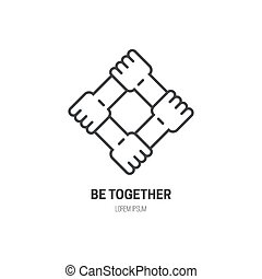 Four connected hands - symbol for togetherness. Vector line style label for non-profit organization or fundraising event.