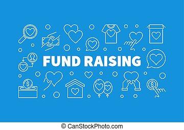 Fund Raising outline creative horizontal banner. Vector fund-raising concept linear illustration on blue background