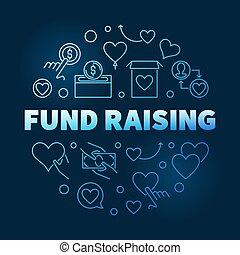 Fund Raising round vector blue outline illustration on dark background