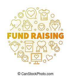 Fund Raising round vector creative outline illustration