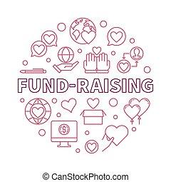 Fund-Raising round vector red outline illustration on white background