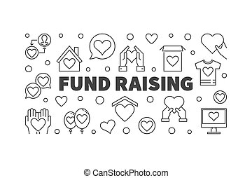Fund Raising vector minimal concept banner in thin line style
