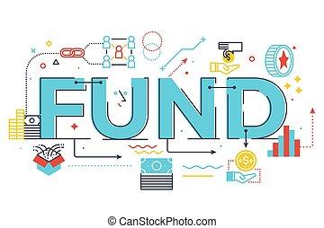Fund word lettering illustration