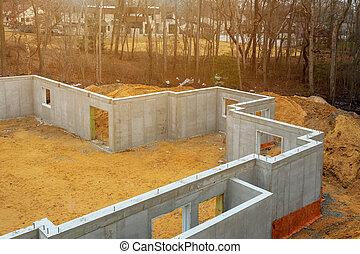 fundação, espuma, placas, waterproofing, casa, energia, poliestireno, saving., isolação