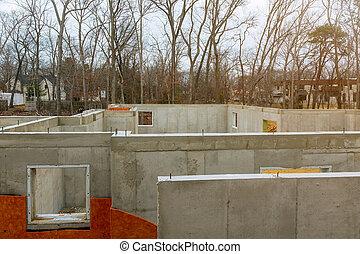 fundação, waterproofing, casa, espuma, concreto, isolação