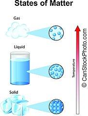 fundamentals, påstår, av, materia, med, molekylen