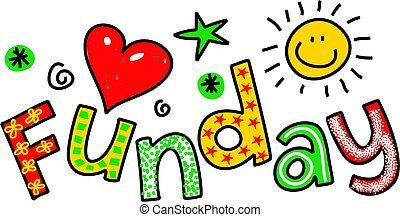 Hand drawn and colored whimsical cartoon special occasion text that reads FUNDAY.