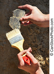 funde, archaeology:, putzen