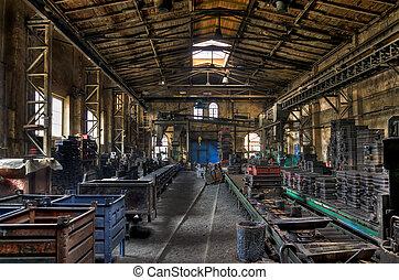 fundición, viejo, fábrica, hierro, vestíbulo