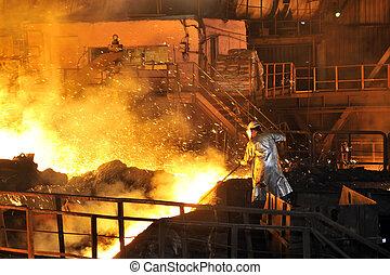 fundido, caliente, acero, el verter, y, trabajador