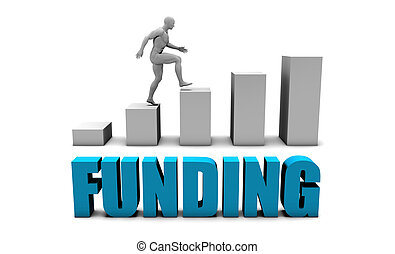 Funding 3D Concept  in Blue with Bar Chart Graph