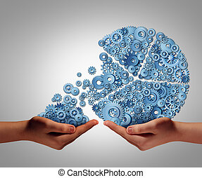 Funding and development concept as a human hand giving or taking investment from a business pie chart made of mechanical gears and cog wheels as a financial backing symbol of investing support or charity donation to help a struggling company or person.