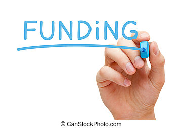 Funding Blue Marker - Hand writing Funding with blue marker...