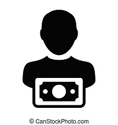 Funding icon vector male user person profile avatar with...