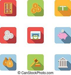 Funding icons set, flat style