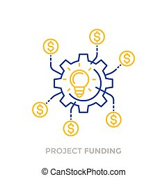 funding in production of the new product, innovations, crowdfunding project, money return icon on white