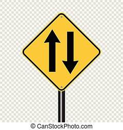 fundo, à frente, dois, sinal, tráfego, maneira, transparente