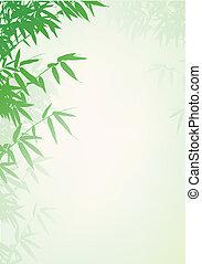 fundo, árvore, bambu