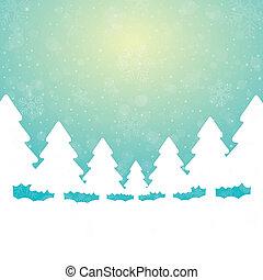 fundo, árvore, verde neve, estrelas, branca