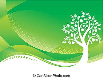 fundo, árvore, verde