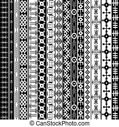 fundo, étnico, textura, geométrico, pretas, arabescos, africano, branca, ornamentos