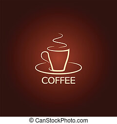 fundo, ícone, copo, desenho, café