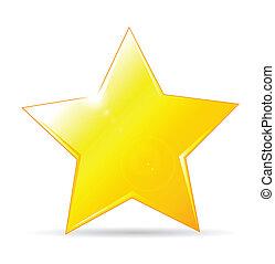 fundo, ícone, dourado, estrela, branca