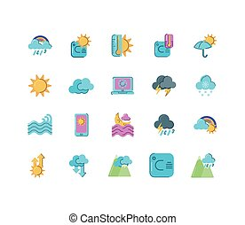 fundo, ícones, coloridos, tempo, conceito, sobre, branca, estilo, apartamento, jogo