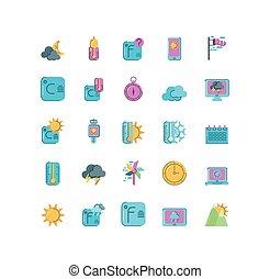 fundo, ícones, coloridos, tempo, sobre, branca, estilo, temperatura, apartamento, jogo